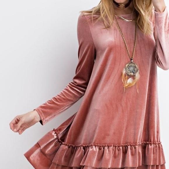 easel Dresses & Skirts - Ruffle Bottom Velvet Pink Dress Long Sleeve